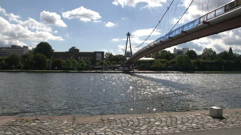 Bridge Across The Main In Frankfurt stock footage