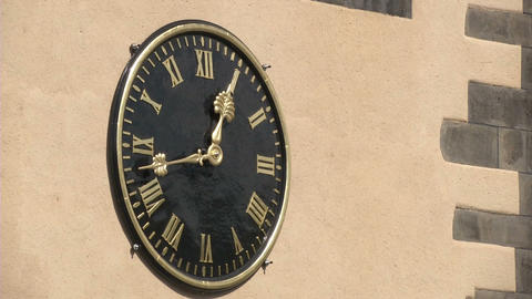 Clock On Church In Frankfurt stock footage