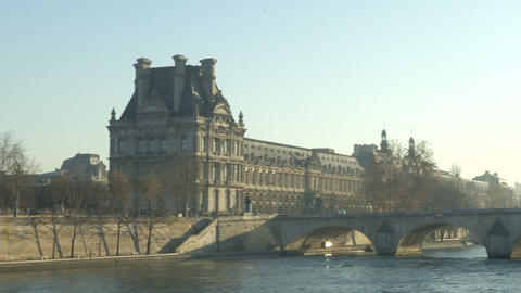 Louvre Museum And Seine River stock footage
