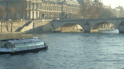 Louvre Museum And Bridge Across The Seine River stock footage