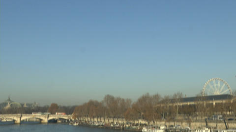 Seine river in Paris, with boats docked Footage
