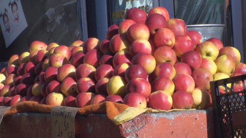 Apples In The Market Still-Shot stock footage