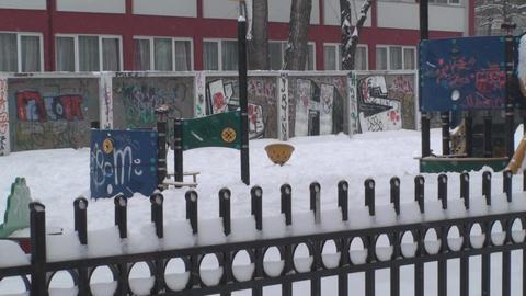 Deserted Amusement Park In A Snow Storm Still-Shot Footage
