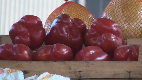 Bell Peppers On A Stand In The Market Still-Shot stock footage