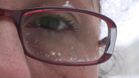 Snow Flakes On Eye Glasses Detail Live Action