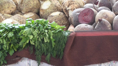 Vegetables On A Stand In A Market Tilt-Shot Footage
