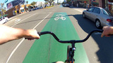 POV Riding Bike In Long Beach CA Bicycle Lane stock footage