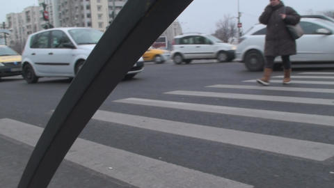 Pedestrians Crossing The Street On A Busy Morning  Footage