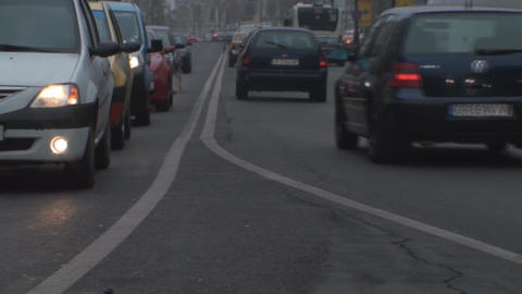 Monday Traffic In Downtown Bucharest Low Angle-Sho stock footage