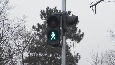 Traffic Lights Green Turns Red For Pedestrians Sti Footage