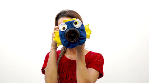 Woman Child Photographer Fish Puppet Footage