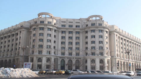 Statistics Institute Building In Bucharest With Tr stock footage