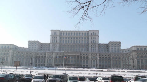 House Of Parliament In Bucharest Still-Shot With T stock footage