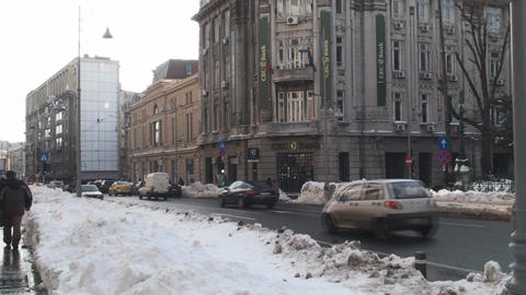 Winter Traffic in Historical Town Bucharest Still- Footage