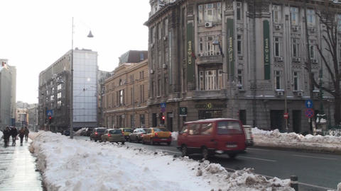 Winter Traffic in Historical Town Bucharest Pan-Sh Footage