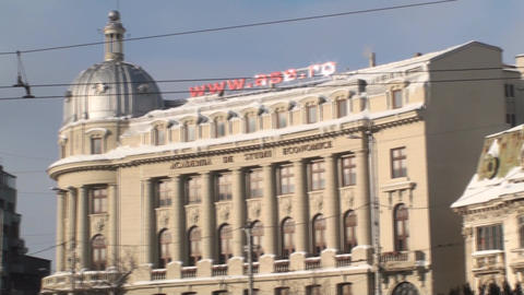 Academy Of Economic Study In Bucharest Pan-Shot Stock Video Footage
