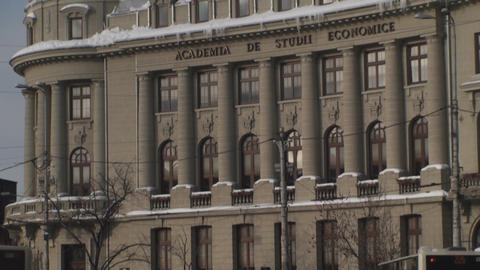 Academy Of Economic Study In Bucharest Tilt-Shot stock footage