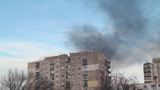 Apartment Blocks On Fire Smoke Rising Still-Shot stock footage
