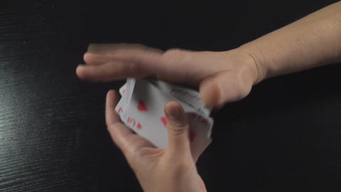 Hand Shuffling Cards Above-Shot Footage