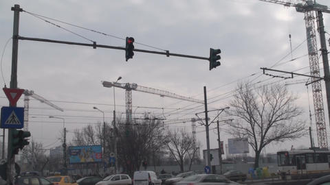 Busy Construction Zone In Bucharest Tilt-Shot Footage