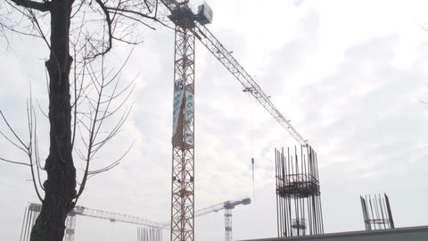 Crane Operating Tilt-Shot stock footage