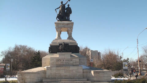Sanitary Heroes Statue In Bucharest Pan-Shot Live Action