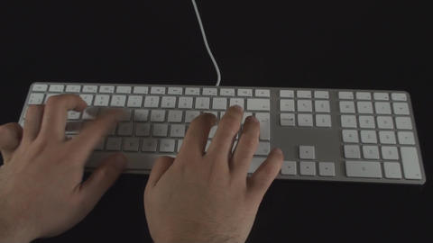 Hand Typing Chapter I On A White Keyboard Point Of Live Action
