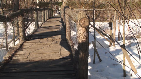 Old Wooden Bridge Pan-Shot stock footage