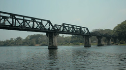 The Famous Bridge Over The River Kwai in Kanchaban Footage