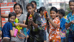 Children with Water Pistols Enjoying Thailand's An Footage