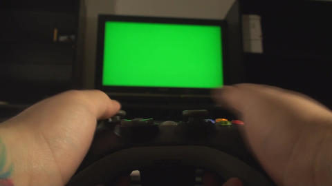 Male Hands Playing With A Console Controller Focus stock footage