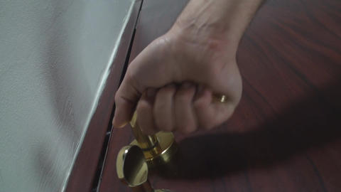 Pulling The Door Handle Low Angle-Shot Footage