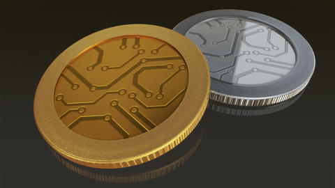 digital gold and silver coins pan Animation