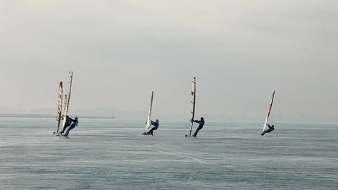 Group Winter Windsurfers stock footage
