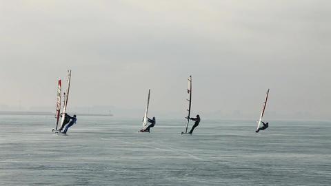 group Winter windsurfers Footage