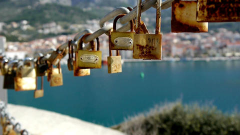 Love Padlocks Close Up stock footage