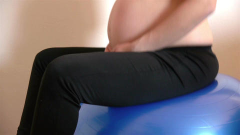 Pregnant Woman On Exercise Ball stock footage