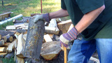 Splitting Logs For Firewood Close Up stock footage