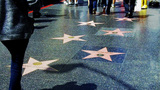 Hollywood Walk Of Fame With Tourist's Walking stock footage