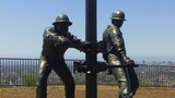 Tribute To The Roughnecks Sculpture- Signal Hill C stock footage