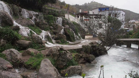 FT 0051 Rainy Waterfall In Chefchaouen 30 P PJ 95 Footage