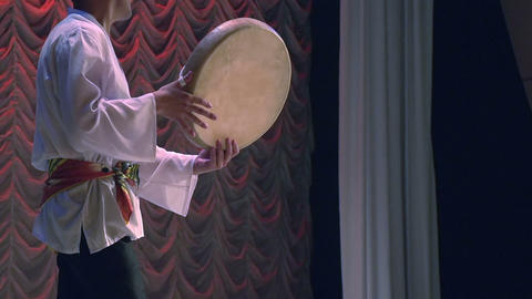 Central Asian traditional drum Footage