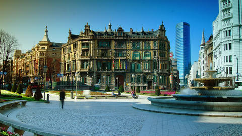 Moyua Square and Chavarri Palace in Bilbao, Spain Footage