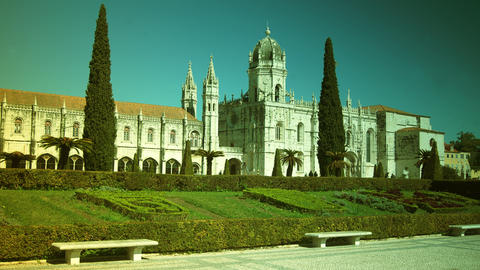 Jeronimos Old Monastery In Lisbon, Portugal,time L stock footage