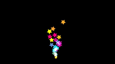 Five star five pointed star gushing,Wisdom fairy cartoon gift,Color particles Animation