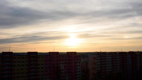 Apartments Block At Sunset Timelapse stock footage