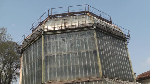 Old Abandoned Green House Old, Destroyed, Rust Pan Footage