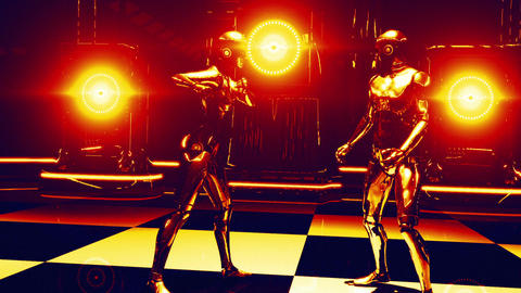 Robot Dance Gold (Strobe Light) stock footage
