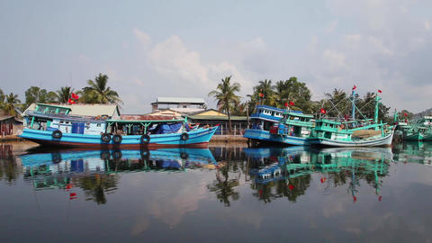 Fishermen's boats. Reflection on water Footage