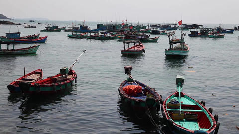 Fishing boats near the shore Footage